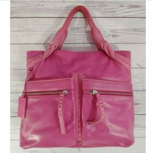 Radley London Handbag Pink Leather Tote Snap Close